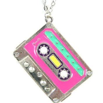 Cassette Tape Necklace 80s Neon Style Pink NC39 New Wave DJ Pendant