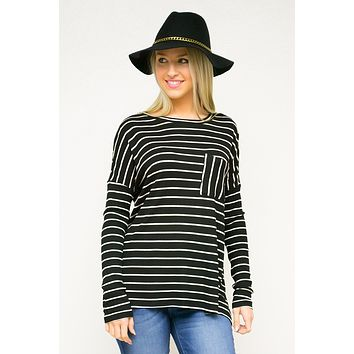 Drop Shoulder Pocket Striped Top