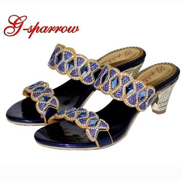 Bling Bling Ladies Sandals Open Toe Chunky Middle Heel Slippers Party Sandal Blue Rhinestone Gorgeous Wedding Party Shoes