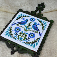 Vintage Cast Iron and Tile Blue, Purple And Green Bird Trivet  // Vintage Wall Hanging