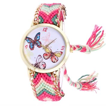 Bracelet Watch with Butterfly Pattern