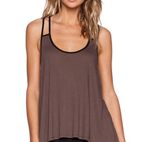Blue Life Fit Double Strap Tank in Taupe