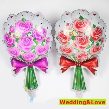 2PC 61cm hot new Rose balloons Wedding Marriage Birthday Party decoration foil balloons Red&Pink Rose flower Mother gift globoes