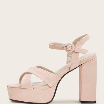 Pink Pastel Cross Strap Faux Suede Chunky Heels