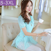 Plus size clothing 2015 Fashion Women blouse Short sleeve Chiffon shirt Summer style Ruffles Casual lace tops S-XXL S0406