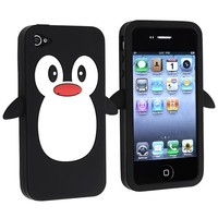 eForCity Penguin Silicone Skin Case compatible with Apple® iPhone® 4 / 4S, Black
