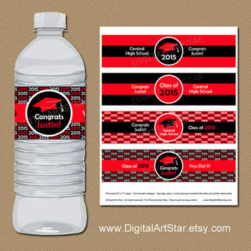 Personalized Graduation Water Bottle Labels - DIY Printable Water Bottle Wrappers - Custom Colors - Class of 2015 - Red Black Drink Labels