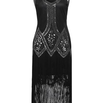 1920s Beaded Fringed Flapper Dress