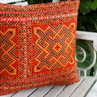 "Bohemian Style Ethnic Hmong Pillows in Tangerine Orange Embroidery 16 ""  Decorative Cushion Cover"