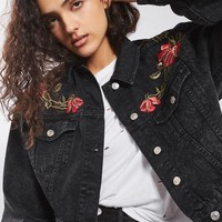 MOTO Rose Embroidered Crop Denim Jacket
