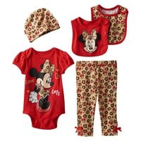 Disney's Minnie Mouse 5-pc. Boxed Floral Bodysuit Set - Baby Girl, Size: 0-6 MONTHS (Red)
