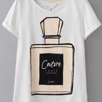 Perfume Bottle Print White T-Shirt