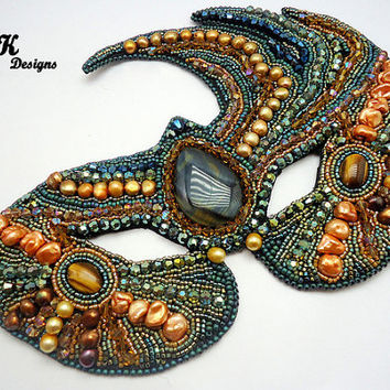 Stunning Bead Embroidery Masquerade Mask made from Pearl, Tiger Eye, and Swarovski Crystals