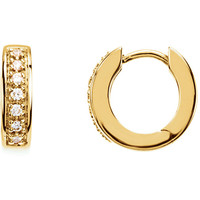 14k Yellow Gold Diamond Hinged Huggie Hoop Earrings, 0.7 inch (17mm)