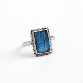 Vintage Silver Blue Morpho Butterfly Wing Ring - Size 5 Art Deco 1930s Statement Rectangular Teal Violet Iridescent Unique Jewelry