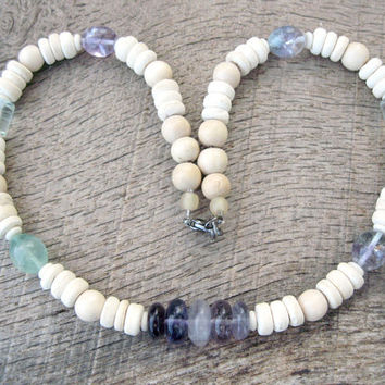 Womens surfer necklace, fluorite, coconut shell and wood beads, handmade, beaded, beautiful natural materials, summer beach surfer girl
