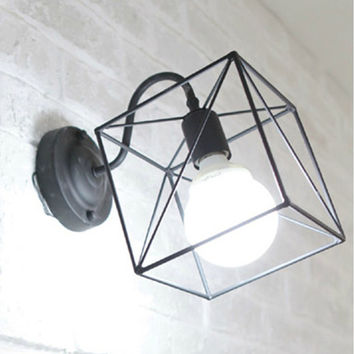 Retro Vintage Industrial Wire Cage Wall Sconce Iron Black White Wall Lamps Luminaire Wall Lights Fixtures Home Lighting