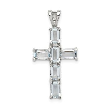 925 Sterling Silver Rhodium Plated Aquamarine Cross Shaped Pendant