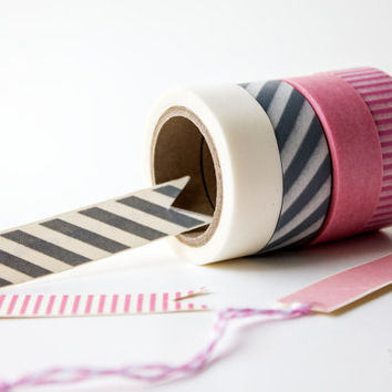 Pink Pack - Washi Tape - Bakers Twine - Divine Twine - White, Silver Stripes, Solid Pink, and Pink Stripes