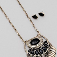 Teardrop Bead Fringe Long Necklace Set