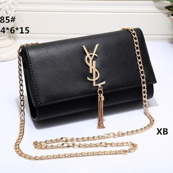 Women Simple Fashion YSL Letter Metal Chain Single Shoulder Messenger Bag All-match Small Square Bag