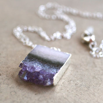 Amethyst Stalactite Slice with Sterling Silver Edging by MindyG