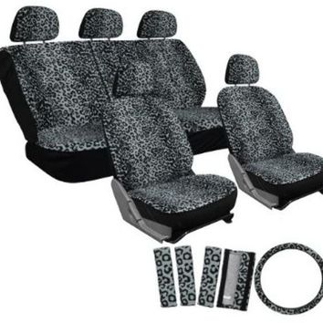 17pc set leopard animal print auto seat covers set - front low back buckets - rear split bench - gray Case of 10