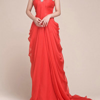 Red chiffon prom dress long evening dresses by SpecialDayDress