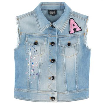 Girls Denim Paint Splatter Vest