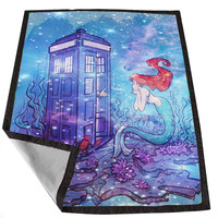 Doctor Who Meets Disney Tardis ariel little mermaid Galaxy Nebula 8b62d62e-5ceb-4f63-a5d6-0e3a3cc3a796 for Kids Blanket, Fleece Blanket Cute and Awesome Blanket for your bedding, Blanket fleece *02*