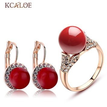 KCALOE Earrings And Ring Set Rose Gold Plate Bride Accessories Red Artificial Coral Crystal Rhinestone Wedding Jewelry Sets