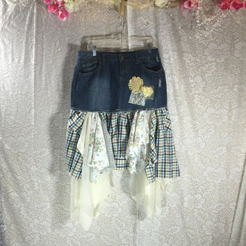 11-12 Plaid Fairy Denim Jean Festival Rustic Skirt / Upcycled Shabby Chic Romantic Skirt / Prairie Skirt / Gypsy Skirt /  By Tattered Fx