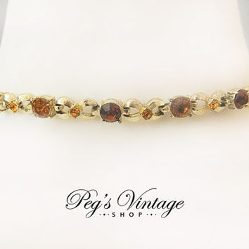 Amber Topaz Rhinestone Necklace Choker, Root Beer Rhinestone Gold Link Choker Vintage Unsigned Coro Jewelry