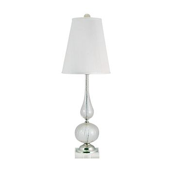 316 Serrated Venetian Glass Table Lamp In Clear And Gold