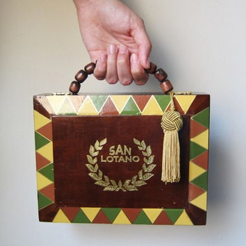 Stunning San Lotano -- Wooden Cigar Box Purse