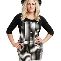 Black and White Striped Shorts Suspender