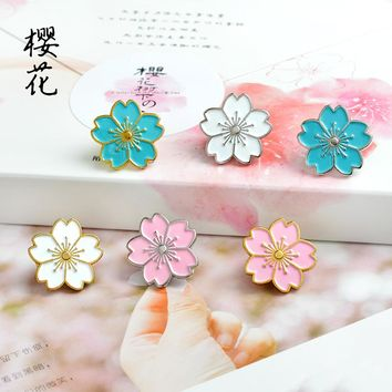 Colorful Cherry Blossoms Flower Brooch Pins Buckle Gold silver Enamel Denim Jacket Shirt Collar Pin Badge Jewelry Gift For Kids