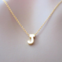 Alphabet initial necklace, gold initial jewelry, A-Z upper letter necklace, simple, modern necklace, personalized, customized necklace