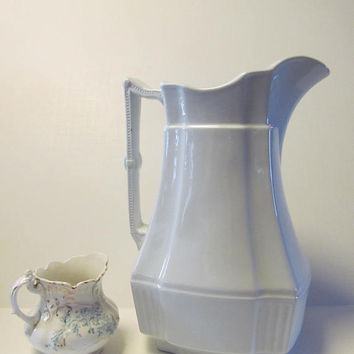 Simplicity White Ironstone Pitcher H Alcock England Colonial Water Jug Antique White Ironstone Large Ewer English White Iron stone  Pitchers