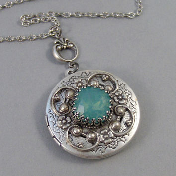 Ocean Opal,Opal,Locket,Antique Locket,Silver Locket,Moon,Aqua Stone,Princess Cut.Birthstone,Mint Opal,Chrysolite,Aqua BlueValleygirldesigns.