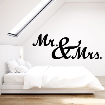 Vinyl Wall Decal Love Romance Mr. And Mrs. Bedroom Decor Stickers (2291ig)