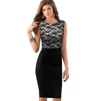 Women Elegant Pinup Black Floral Lace Sleeveless Tunic Bodycon Pencil Dress Vintage Business Work Office Dresses G757