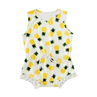 Abacaxi Kids Summer Sleeveless Pineapple Romper Newborn - 12 months Yellow