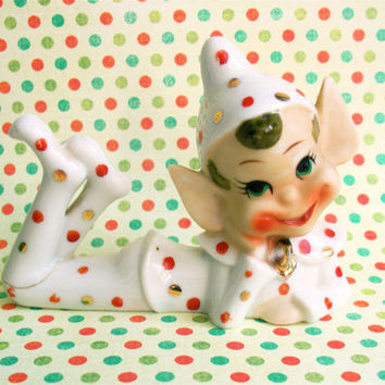 Vintage Kitsch Polka Dotted 1950s Ceramic Christmas Elf Pixi