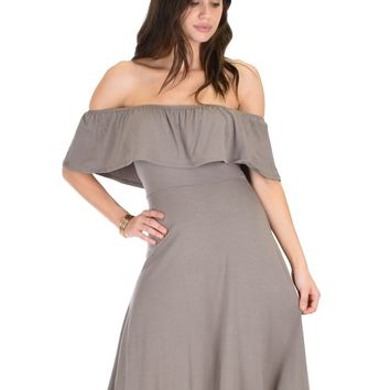 Lyss Loo Wait And See Off The Shoulder Brown Midi Dress