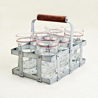 Vintage Wine Glasses and Caddy Set