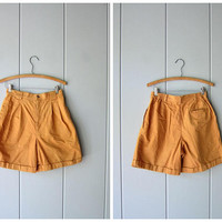 90s Cotton High Rise Shorts High Waist Safari Shorts Butternut Orange Khaki Summer Shorts Modern Pocket Shorts Minimal Womens size 6