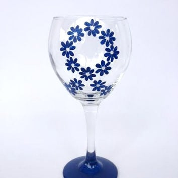 Colon cancer awareness blue ribbon flower hand painted wine glass