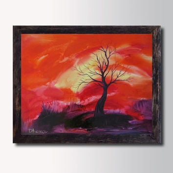 Rolled Canvas Print - Red Orange  Landscape - Sunset  Painting -  Abstract art - Modern Wall decor - Contemporary Home decor