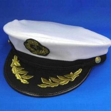 EMBROIDERED CAPTAIN HAT WITH EMBLEMS ships sailing ocean costume party wear new